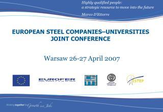 EUROPEAN STEEL COMPANIES–UNIVERSITIES JOINT CONFERENCE