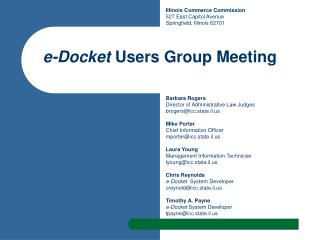 e-Docket  Users Group Meeting
