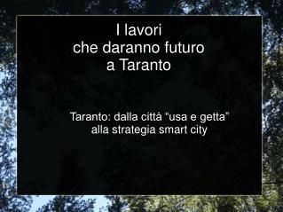 I lavori  che daranno futuro  a Taranto