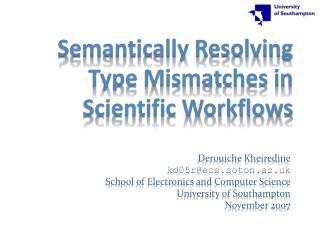 Semantically Resolving Type Mismatches in Scientific Workflows
