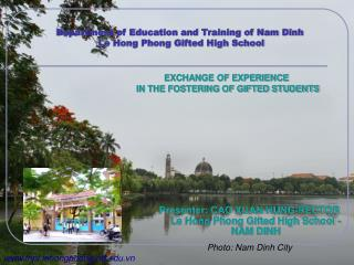 Department of Education and Training of Nam Dinh   Le Hong Phong Gifted High School