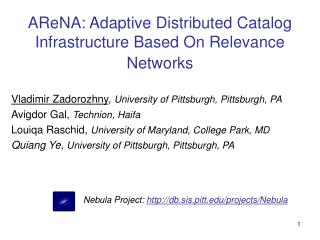AReNA: Adaptive Distributed Catalog Infrastructure Based On Relevance Networks