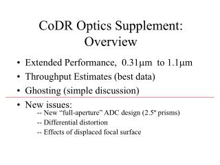 CoDR Optics Supplement: Overview