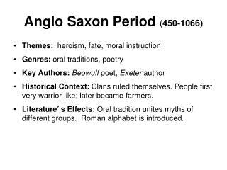 Anglo Saxon Period  ( 450-1066)