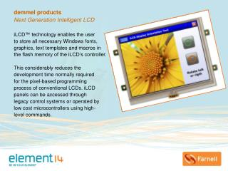 demmel products Next Generation Intelligent LCD  iLCD™ technology enables the user