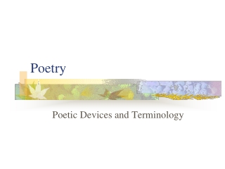Poetry  Poetic Devices