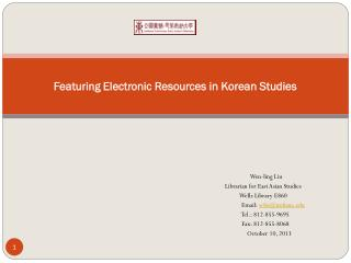 Featuring Electronic Resources in Korean Studies