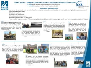 UMass Boston � Glasgow Caledonian  University Exchange  Pre -Medical  Ambassadors