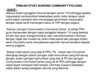 TEMUAN STUDY BANDING COMMUNITY POLICING