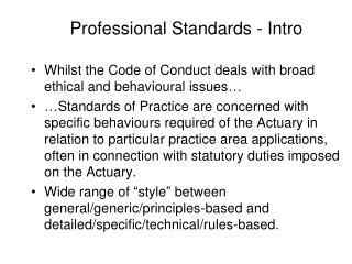 Professional Standards - Intro