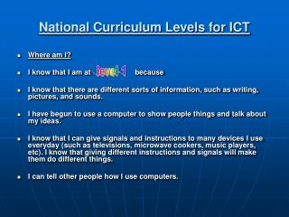National Curriculum Levels for ICT