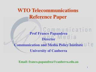 WTO Telecommunications Reference Paper