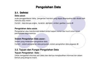 Pengolahan Data