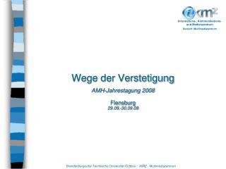 Wege der Verstetigung AMH-Jahrestagung 2008 Flensburg 29.09.-30.09.08