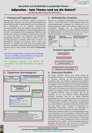 Gesundheit und Wohlbefinden in peripartalen Phasen:  Adipositas   kein Thema rund um die Geburt          Katja Makowsky,