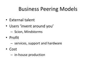 Business Peering Models