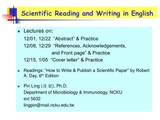 Scientific Reading and Writing in English