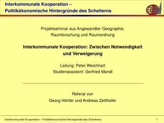 Interkommunale Kooperation �  Politik�konomische Hintergr�nde des Scheiterns