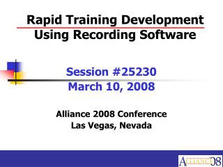 Rapid Training Development Using Recording Software