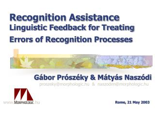 Recognition Assistance Linguistic Feedback for Treating Errors of Recognition Processes