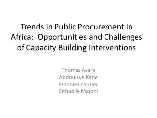 Trends in Public Procurement in Africa:  Opportunities and Challenges of Capacity Building Interventions