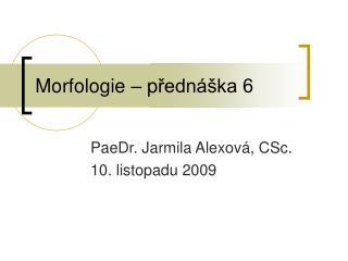 Morfologie – p řednáška 6