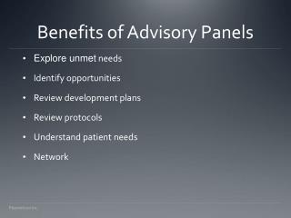 Benefits of Advisory Panels