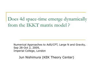 Does 4d space-time emerge dynamically from the IKKT matrix model ?