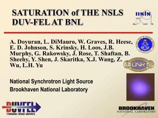 SATURATION of THE NSLS DUV-FEL AT BNL