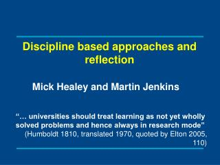 Discipline based approaches and reflection