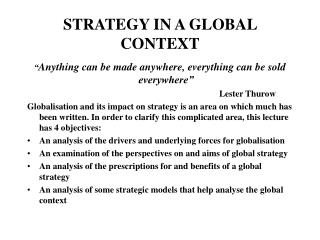 STRATEGY IN A GLOBAL CONTEXT