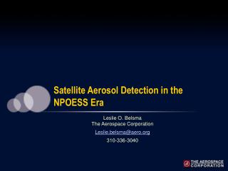 Satellite Aerosol Detection in the NPOESS Era
