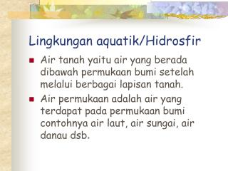 Lingkungan aquatik/Hidrosfir