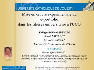 Mise en œuvre expérimentale du  e-portfolio dans les filières universitaire à l'UCO