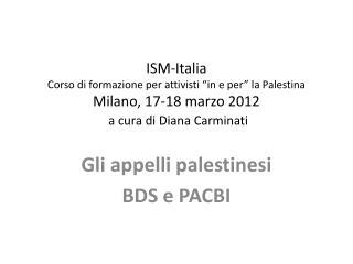 Gli appelli palestinesi BDS e  PACBI