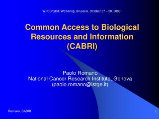 Common Access to Biological Resources and Information (CABRI)