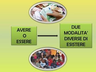 DUE MODALITA' DIVERSE DI ESISTERE