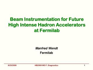 Beam Instrumentation for Future High Intense Hadron Accelerators at Fermilab