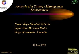 Analysis of a Strategy Management Environment
