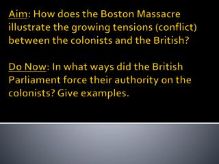 I. Boston Massacre