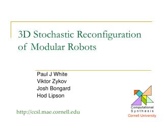 3D Stochastic Reconfiguration  of Modular Robots