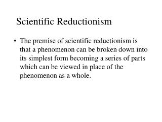 Scientific Reductionism