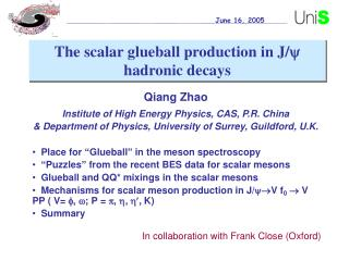 Qiang Zhao Institute of High Energy Physics, CAS, P.R. China