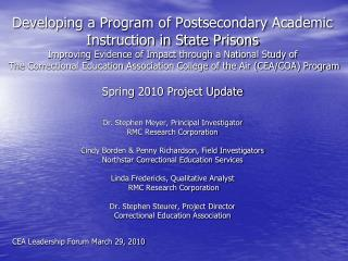 Developing a Program of Postsecondary Academic Instruction in State Prisons Improving Evidence of Impact through a Natio