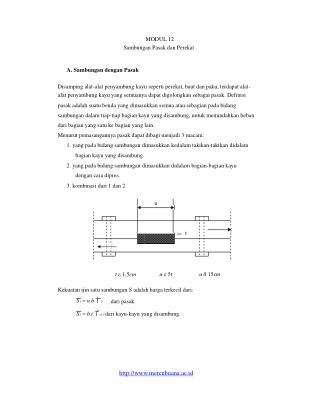 MODUL 12 Sambungan Pasak dan Perekat A. Sambungan dengan Pasak