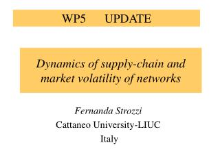 Dynamics of supply-chain and market volatility of networks