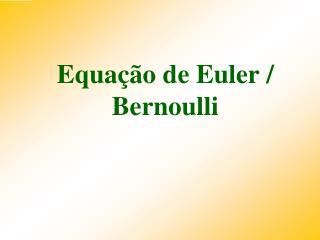 Equação de  Euler  / Bernoulli