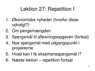 Lektion 27: Repetition I