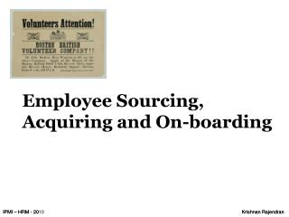 Employee Sourcing, Acquiring and On-boarding
