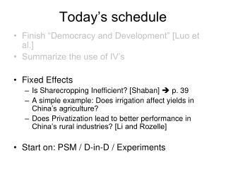 Today�s schedule